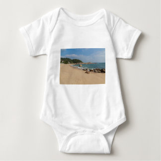 Panoramic view of Tung O Village Lamma Island Baby Bodysuit