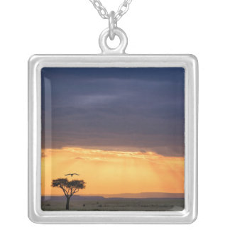 Panoramic view of Vulture and acacia tree Square Pendant Necklace