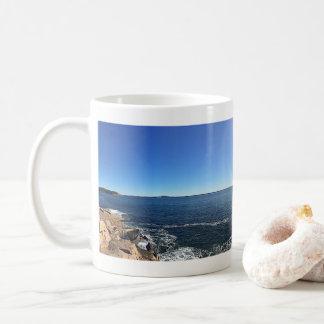 Panoramic Vista of Rocky Shoreline Coffee Mug