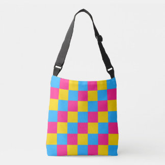 Pansexuality colors checkered pattern crossbody bag