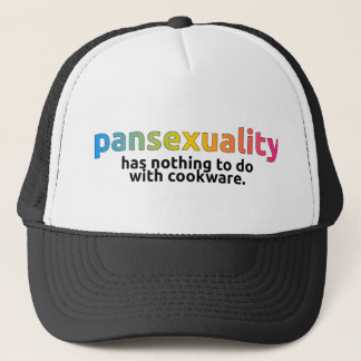 """Pansexuality has nothing to do with cookware"" cap"