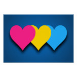 Pansexuality pride hearts Poster