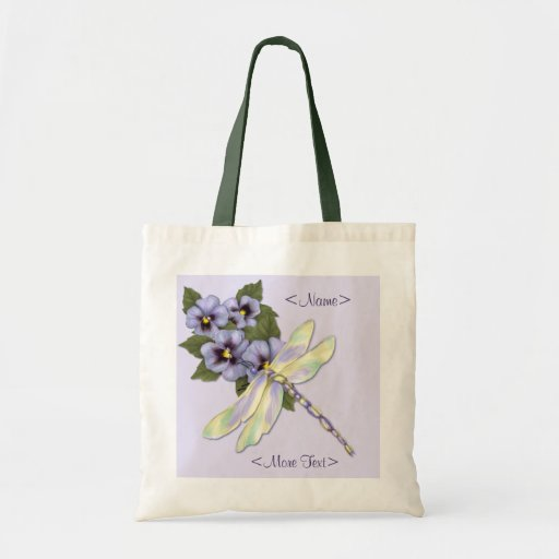 Pansies and Dragonfly Canvas Bags