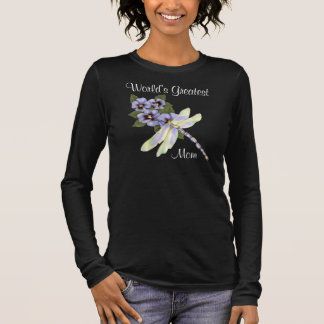Pansies and Dragonfly Long Sleeve T-Shirt