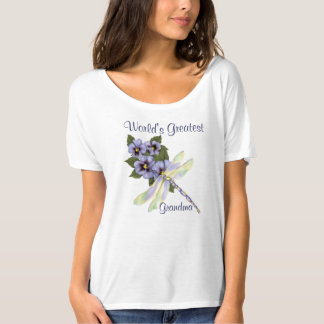 Pansies and Dragonfly T Shirt