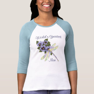 Pansies and Dragonfly T Shirts
