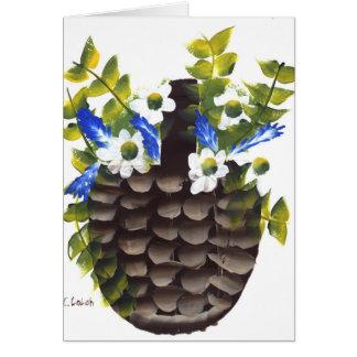 Pansies and Wild Flowers in Basket Greeting Card
