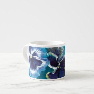 Pansies art blue espresso mug