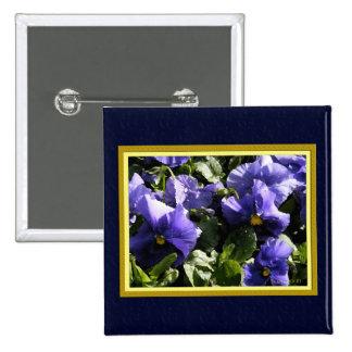 Pansies: Blue Violet 15 Cm Square Badge