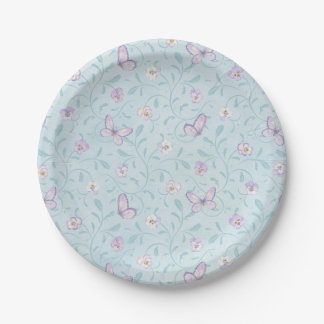 Pansies & Butterflies Paper Plate