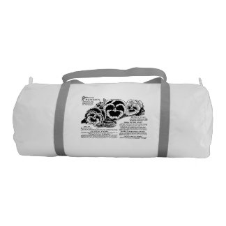 Pansies Duffle Gym Bag, White with Silver straps Gym Bag