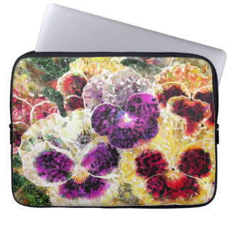 "Pansies Flowers Abstract Art, Laptop Sleeve 13"""