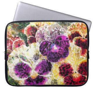 "Pansies Flowers Abstract Art, Laptop Sleeve 15"""