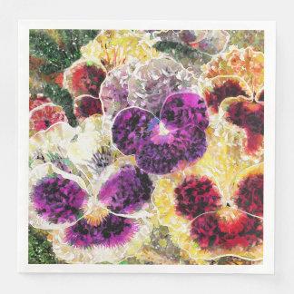 Pansies Flowers Abstract Art Paper Dinner Napkins Disposable Serviette