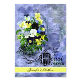 "Pansies Heart Wedding RSVP Card 3.5"" X 5"" Invitation Card"