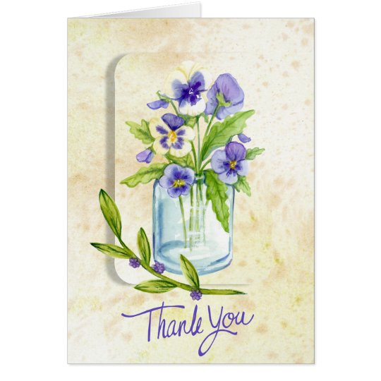 Pansies In A Jar Thankyou Card