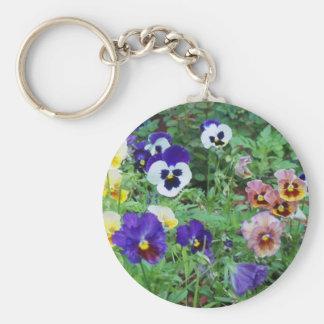 Pansies of summer basic round button key ring