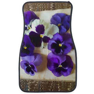 Pansies on an old book car mat