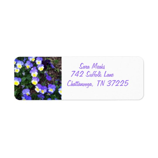 Pansies on return address labels