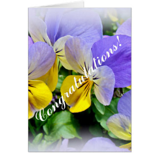Pansies - Purple and Yellow - Congratulations Card