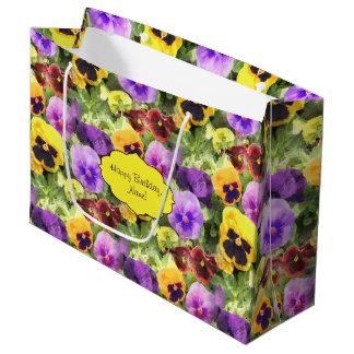 Pansies Watercolor Large Gift Bag