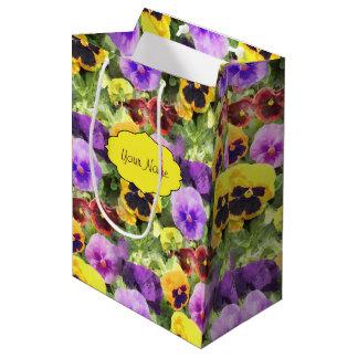 Pansies Watercolor Medium Gift Bag