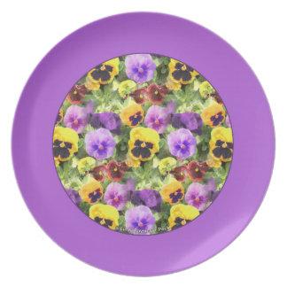 Pansies Watercolor Purple Border Plate