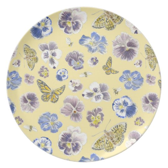 Pansy and Butterfly Melamine Plate