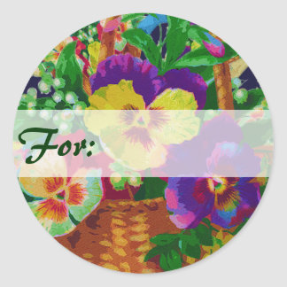 Pansy Basket Gift Tag Stickers