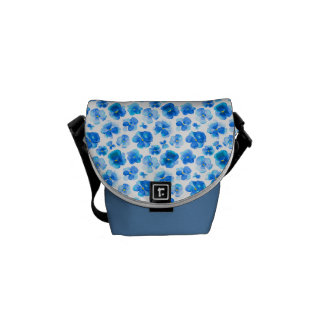 Pansy blue watercolor art patterned bag commuter bag