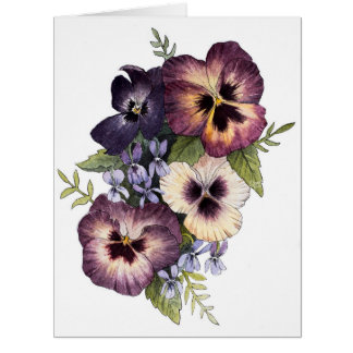 Pansy Bouquet Blank Greeting Card