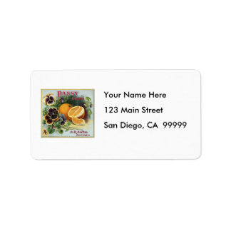 Pansy Brand Oranges Fruit Label Address Label