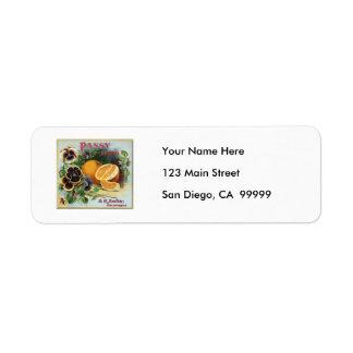 Pansy Brand Oranges Fruit Label Return Address Label