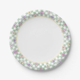Pansy Check Border Paper Plate