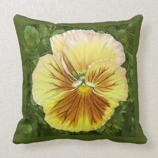 Pansy Face-Yellow Cushion