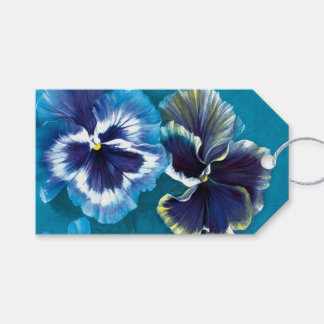 Pansy fine art painting blue gift tag