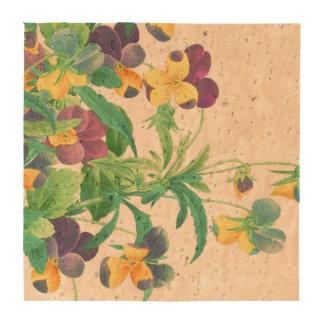 Pansy Floral Flowers Botanical Cork Coaster