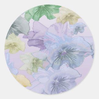 Pansy Flower Background Round Sticker