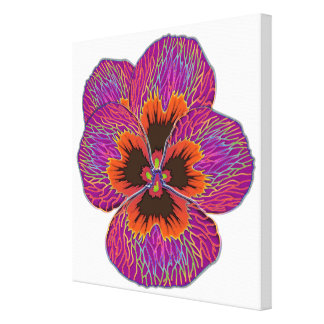 Pansy Flower Psychedelic Abstract Canvas Print