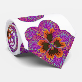 Pansy Flower Psychedelic Abstract Tie