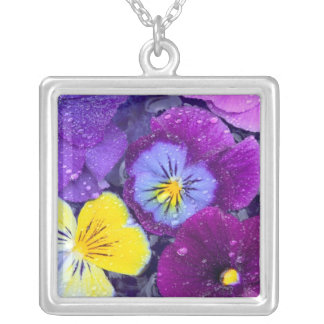 Pansy flowers floating in bird bath with dew square pendant necklace