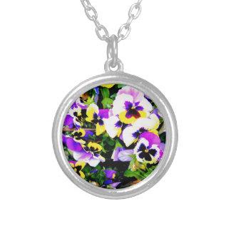 pansy flowers pendant