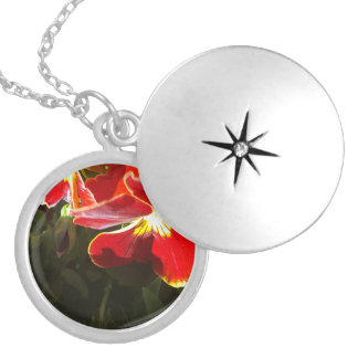 Pansy flowers silver plated necklace