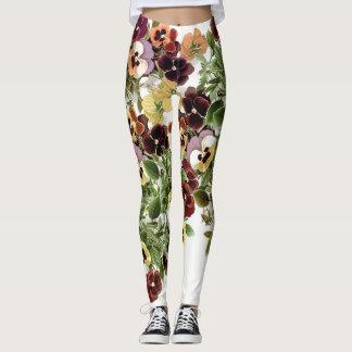 Pansy Garden Flowers All Over Print Leggings