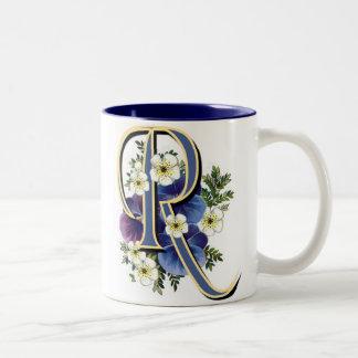 Pansy Initial - R Two-Tone Coffee Mug