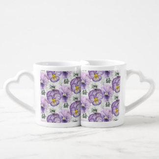 Pansy pattern coffee mug set