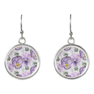 Pansy pattern earrings