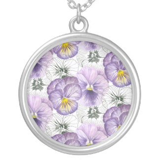Pansy pattern silver plated necklace