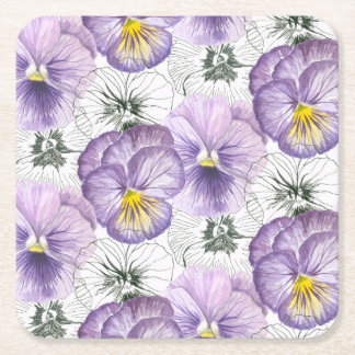 Pansy pattern square paper coaster