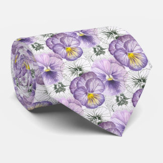 Pansy pattern tie